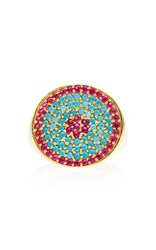 Joanna Laura Constantine Gold Plated Ruby And Turquoise Tribal Pinky Ring Multi