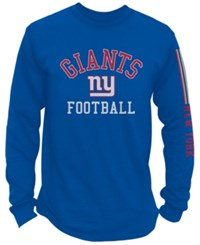 Nfl Authentic Apparel Men's New York Giants Spread Formation Long Sleeve T Shirt Blue