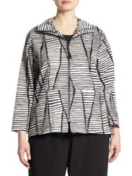 Caroline Rose Lines And Vines Striped Stretch Cotton Jacket Black White