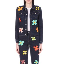 Au Jour Le Jour Sequin Embellished Denim Jacket Blue