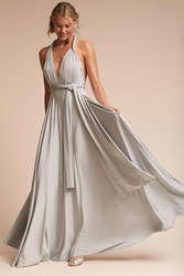 Anthropologie Ginger Convertible Maxi Wedding Guest Dress Silver