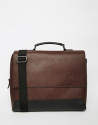River Island Messenger Bag In Faux Leather Darkred