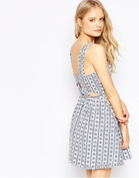 Asos Skater Dress In Gingham Cutwork With Open Back Bluewhite