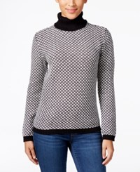 Karen Scott Petite Patterned Turtleneck Sweater Only At Macy's Deep Black Combo