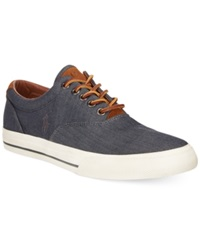 Polo Ralph Lauren Vaughn Chambray Herringbone Sneakers Men's Shoes Denim