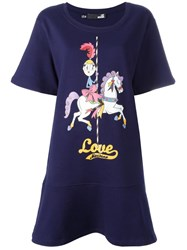 Love Moschino Printed T Shirt Dress Blue