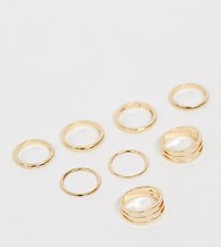 Asos Design Curve Pack Of 8 Rings In Mixed Width And Double Row Designs In Gold Tone Gold