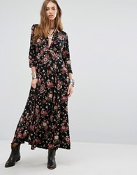 Denim And Supply Ralph Lauren By Floral Boho Long Sleeve Maxi Shirt Dress Black