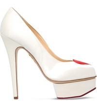 Charlotte Olympia Delphine Heart Silk Satin Platform Courts White Red