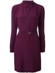 Vanessa Seward Belted Shirt Dress Red