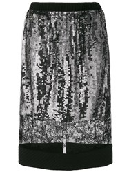 Vera Wang Lace Panel Sequin Skirt Black