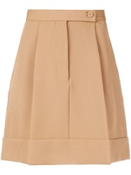 Sara Battaglia Pleated Mini Skirt Nude And Neutrals