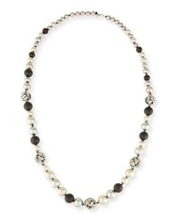 Alexis Bittar Crystal Encrusted Mosaic Lace Necklace Black White 38
