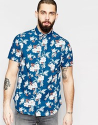 Brave Soul Floral Print Summer Short Sleeve Shirt Blue