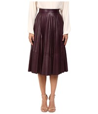 Prabal Gurung Pleated Leather Skirt Blackberry