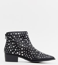 London Rebel Pointed Stud Ankle Boots Black