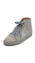 Thakoon High Top Haircalf Sneakers Grey