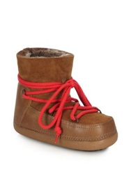 Ikkii Suede Leather And Shearling Low Moon Boots Dark Green Deer Dark Red