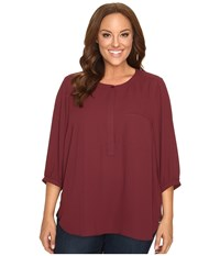 Nydj Plus Size Solid 3 4 Sleeve Pleat Back Mahogany Wood Women's Long Sleeve Button Up Brown
