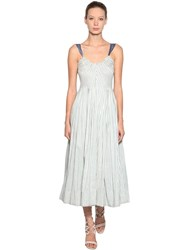 Luisa Beccaria Striped Linen Dress Blue White