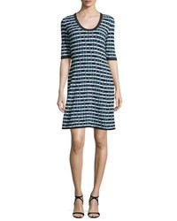 M Missoni Half Sleeve Broken Zigzag Dress Black