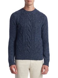 Saks Fifth Avenue Collection Fisherman Trapp Sweater Navy Camel Grey