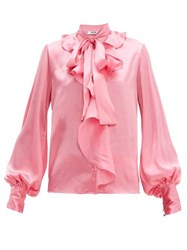 Msgm Ruffled Pussy Bow Satin Blouse Pink