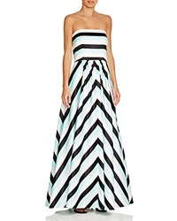 Aqua Strapless Striped Gown Black White Mint