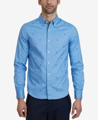 Nautica Men's Slim Fit Anchor Print Stretch Button Down Shirt A Macy's Exclusive Style Riviera Blue