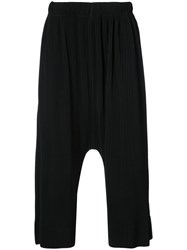 Homme Plisse Issey Miyake Pleated Drop Crotch Trousers Polyester Black
