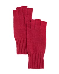 Portolano Wool Fingerless Knit Gloves Berry Cherry
