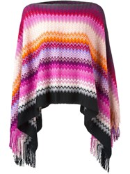 Missoni Striped Knit Poncho Pink And Purple