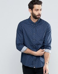Pretty Green Shirt With Diamond Print In Slim Fit Navy Navy