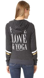 Spiritual Gangster Peace Love And Yoga Beach Hoodie Vintage Black