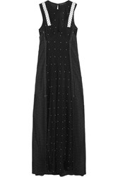 Calvin Klein Collection Convertible Leather Trimmed Printed Silk Crepe De Chine Dress Black