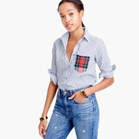 J.Crew Striped Boy Shirt With Tartan Pocket