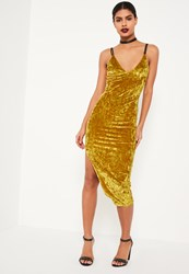 Missguided Chartreuse Green Strappy Crushed Velvet Bodycon Midi Dress Mustard