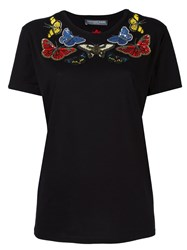 Alexander Mcqueen Embroidered Butterfly T Shirt Black