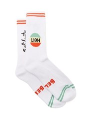 Bella Freud Lion Intarsia Stretch Cotton Socks White