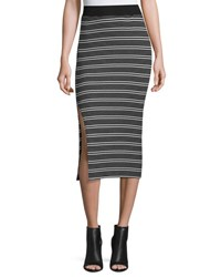 Atm Anthony Thomas Melillo Engineered Striped Ribbed Pencil Skirt Black White Black White