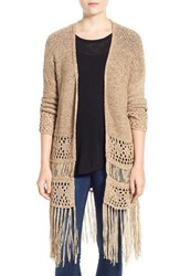 Women's Dex Fringe Hem Tape Yarn Cardigan