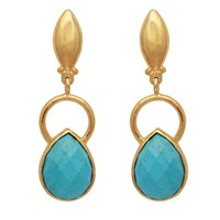 Carousel Jewels Gold Ring And Teardrop Turquoise Earrings Blue Gold