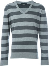 Dolce And Gabbana V Neck Striped Jumper Grey