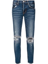 Moussy Ripped Knees Cropped Jeans Blue