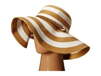Vince Camuto Wide Stripe And Rope Floppy Hat Tan Caps
