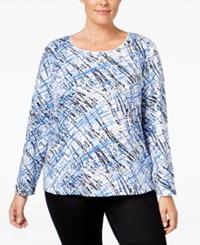 Karen Scott Plus Size Printed Top Only At Macy's Bright Blue Streamer