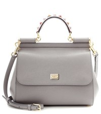 Dolce And Gabbana Exclusive To Mytheresa.Com Miss Sicily Medium Embellished Leather Tote Grey