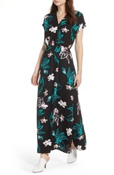 Halogen V Neck Maxi Dress Black Green Graffiti Foral