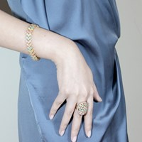 Cielle London Spring Snow Statement Cocktail Ring Multicolour Blue Gold Green