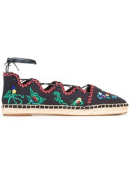 Tory Burch Embroidered Figures Espadrilles Blue